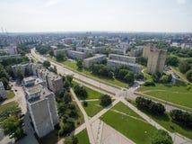 Satellietbeeld van Kalnieciai-district in Kaunas stock afbeelding