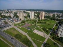 Satellietbeeld van Kalnieciai-district in Kaunas stock afbeeldingen