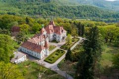 Satellietbeeld van kasteel-paleis van de Telling Schonborn in Zakarpattia, de Oekraïne royalty-vrije stock foto