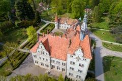 Satellietbeeld van kasteel-paleis van de Telling Schonborn in Zakarpattia, de Oekra?ne royalty-vrije stock foto