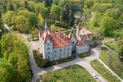 Satellietbeeld van kasteel-paleis van de Telling Schonborn in Zakarpattia, de Oekra?ne royalty-vrije stock foto's