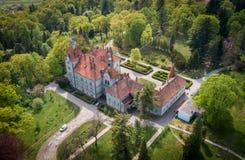 Satellietbeeld van kasteel-paleis van de Telling Schonborn in Zakarpattia, de Oekra?ne royalty-vrije stock afbeeldingen