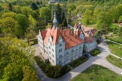 Satellietbeeld van kasteel-paleis van de Telling Schonborn in Zakarpattia, de Oekra?ne stock foto's