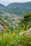 Satellietbeeld van Kotor, de Baai van Boka Kotorska, Montenegro stock fotografie