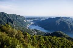 Satellietbeeld van Lugano meer, Zwitserland, Europa royalty-vrije stock afbeeldingen