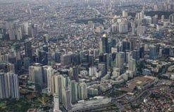 Satellietbeeld van Manilla met wolkenkrabbers royalty-vrije stock fotografie