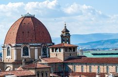Satellietbeeld van Medici-Kapelskoepel - Florence royalty-vrije stock fotografie