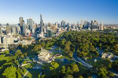 Satellietbeeld van Melbourne CBD royalty-vrije stock foto