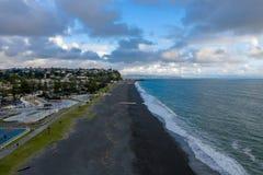 Satellietbeeld van Napier-strand en buurt, NZ royalty-vrije stock foto