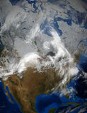 Satellietbeeld van Noord-Amerika en de V.S. tijdens de Winter Stock Foto's