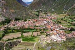 Satellietbeeld van Ollantaytambo in Peru, van de archeologische plaats wordt gezien die stock afbeelding