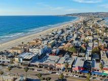 Satellietbeeld van Opdrachtbaai & Stranden in San Diego, Californië De V.S. royalty-vrije stock fotografie