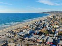 Satellietbeeld van Opdrachtbaai & Stranden in San Diego, Californi? De V.S. stock afbeelding