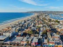 Satellietbeeld van Opdrachtbaai & Stranden in San Diego, Californi? De V.S. royalty-vrije stock afbeelding