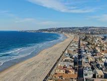 Satellietbeeld van Opdrachtbaai & Stranden in San Diego, Californi? De V.S. stock foto's