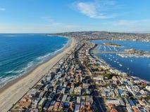 Satellietbeeld van Opdrachtbaai & Stranden in San Diego, Californi? De V.S. stock afbeeldingen