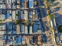Satellietbeeld van Opdrachtbaai & Stranden in San Diego, Californi? De V.S. stock foto