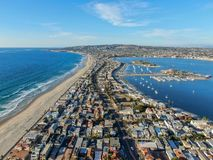 Satellietbeeld van Opdrachtbaai & Stranden in San Diego, Californi? De V.S. royalty-vrije stock fotografie