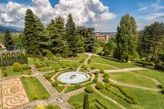 Satellietbeeld van openbare tuin in Villa Toeplitz, Varese, Italië royalty-vrije stock afbeeldingen
