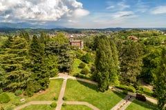 Satellietbeeld van openbare tuin in Villa Toeplitz, Varese, Itali? stock fotografie