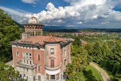 Satellietbeeld van openbare tuin in Villa Toeplitz, Varese, Itali? stock afbeelding