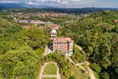 Satellietbeeld van openbare tuin in Villa Toeplitz, Varese, Itali? royalty-vrije stock fotografie