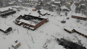 Satellietbeeld van oud centrum van het saltmaking in Drohobych Verlaten voorwaarde van zoute fabriek, maar functionate vlot stock video