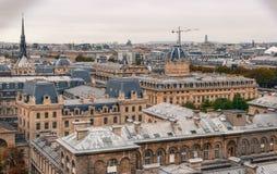 Satellietbeeld van Parijs met de zijn typische bouw stock fotografie