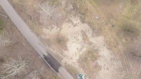 Satellietbeeld van pijnboom-vergankelijk bos in de vroege lente stock videobeelden