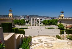 Satellietbeeld van Plaza DE Espanya Square, Barcelona, Catalonië, SP stock fotografie