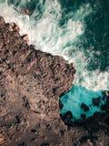 Satellietbeeld van Pont Naturel Mauritius Natuursteenbrug, atraction van zuidelijke kustlijn in Mauritius stock fotografie