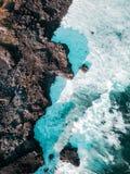 Satellietbeeld van Pont Naturel Mauritius Natuursteenbrug, atraction van zuidelijke kustlijn in Mauritius stock afbeelding