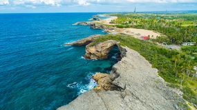 Satellietbeeld van Puerto Rico Faro Los Morrillos DE Cabo Rojo Het strand van Playasucia en Zoute meren in Punta Jaguey stock afbeelding