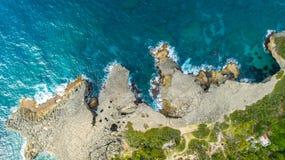 Satellietbeeld van Puerto Rico Faro Los Morrillos DE Cabo Rojo Het strand van Playasucia en Zoute meren in Punta Jaguey royalty-vrije stock foto's