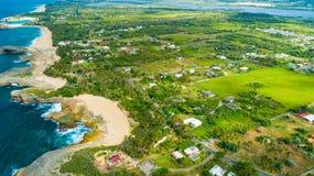 Satellietbeeld van Puerto Rico Faro Los Morrillos DE Cabo Rojo Het strand van Playasucia en Zoute meren in Punta Jaguey stock afbeeldingen