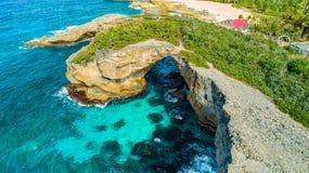 Satellietbeeld van Puerto Rico Faro Los Morrillos DE Cabo Rojo Het strand van Playasucia en Zoute meren in Punta Jaguey royalty-vrije stock foto