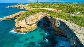 Satellietbeeld van Puerto Rico Faro Los Morrillos DE Cabo Rojo Het strand van Playasucia en Zoute meren in Punta Jaguey stock foto