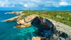 Satellietbeeld van Puerto Rico Faro Los Morrillos DE Cabo Rojo Het strand van Playasucia en Zoute meren in Punta Jaguey stock foto's