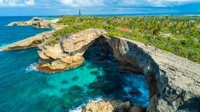 Satellietbeeld van Puerto Rico Faro Los Morrillos DE Cabo Rojo Het strand van Playasucia en Zoute meren in Punta Jaguey royalty-vrije stock afbeelding