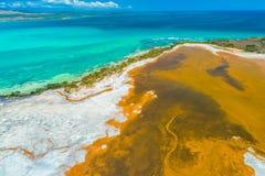 Satellietbeeld van Puerto Rico Faro Los Morrillos DE Cabo Rojo Het strand van Playasucia en Zoute meren in Punta Jaguey royalty-vrije stock afbeeldingen