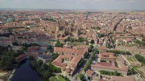 Satellietbeeld van Salamanca met de kathedraal en de rivier, Spanje