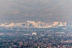 Satellietbeeld van San van de binnenstad Jose op een zonnige middag; Silicon Valley, baaigebied de Zuid- van San Francisco, Calif royalty-vrije stock foto's