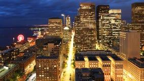 Satellietbeeld van Seattle, Washington de stad in bij nacht royalty-vrije stock fotografie