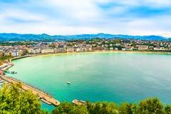 Satellietbeeld van Sebastian en de Golf van Biskaje, Baskisch Land, Spanje stock afbeelding