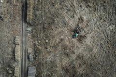 Satellietbeeld van stuitende ontbossing, milieuvernietiging, Polen royalty-vrije stock foto's