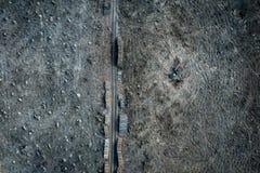 Satellietbeeld van stuitende ontbossing, vernietigd bos royalty-vrije stock foto's