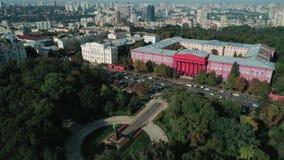 Satellietbeeld van Taras Shevchenko-universiteit stock footage