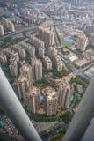 Satellietbeeld van uit het stadscentrum van Guanzhou-stad met zonlicht stock afbeeldingen