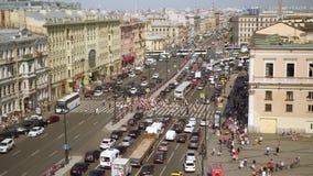 Satellietbeeld van voetgangersoversteekplaats van Ligovsky-vooruitzicht, het station van Moskou stock footage