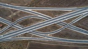Satellietbeeld van weg en viaduct Wegverbinding, de hoogste mening van de wegkruising royalty-vrije stock foto